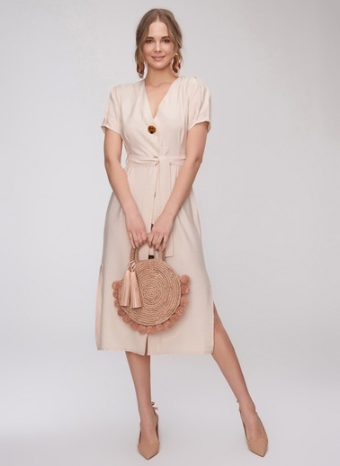 People By Fabrika Düğme Detaylı Elbise Bej